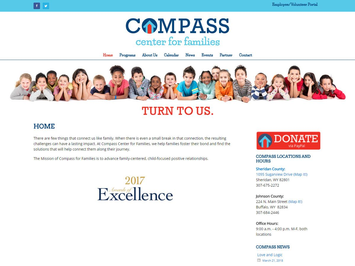 Compass Center for Families Website