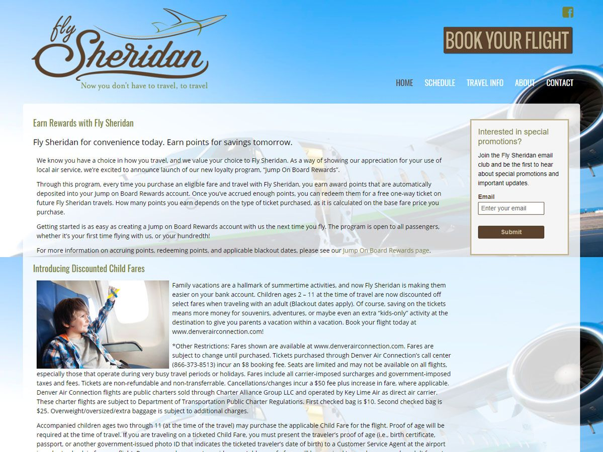 Fly Sheridan Website and Print Design