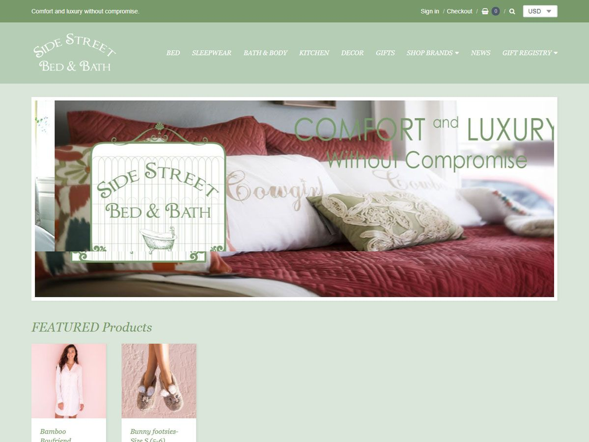 Side Street Bed & Bath website created by Confluence Collaborative